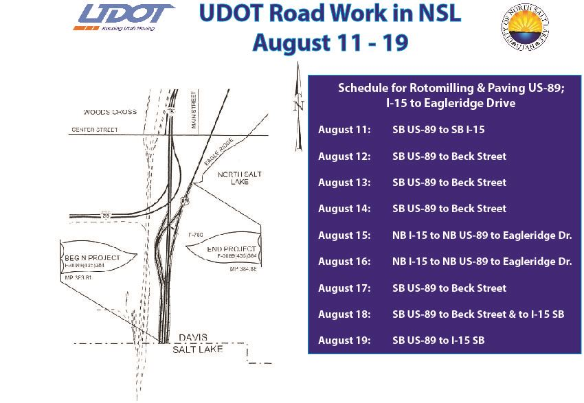 Road work rotomilling and paving US-89 to Eagleridge map and schedule from UDOT