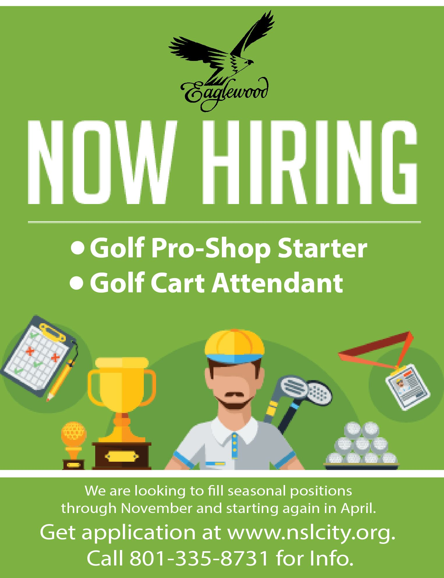 Now Hiring - Golf starter and cart attendant 8-15-18