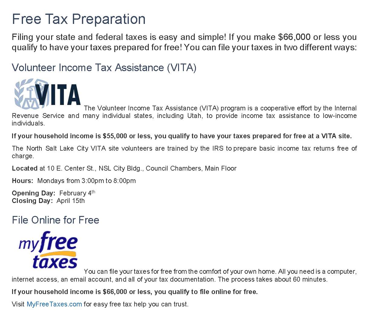 VITA 2019 Free Tax Preparation Message