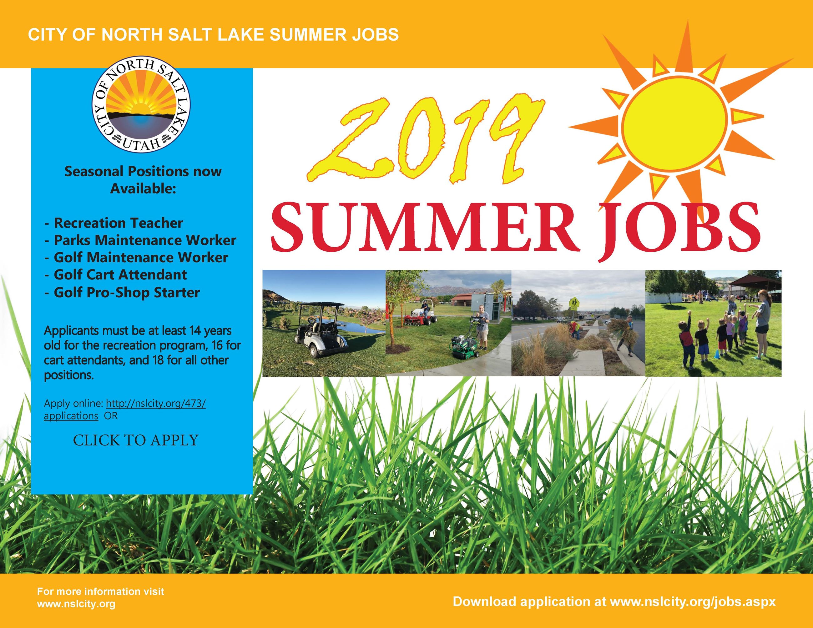 Summer Jobs 2019 - modified for all city positions