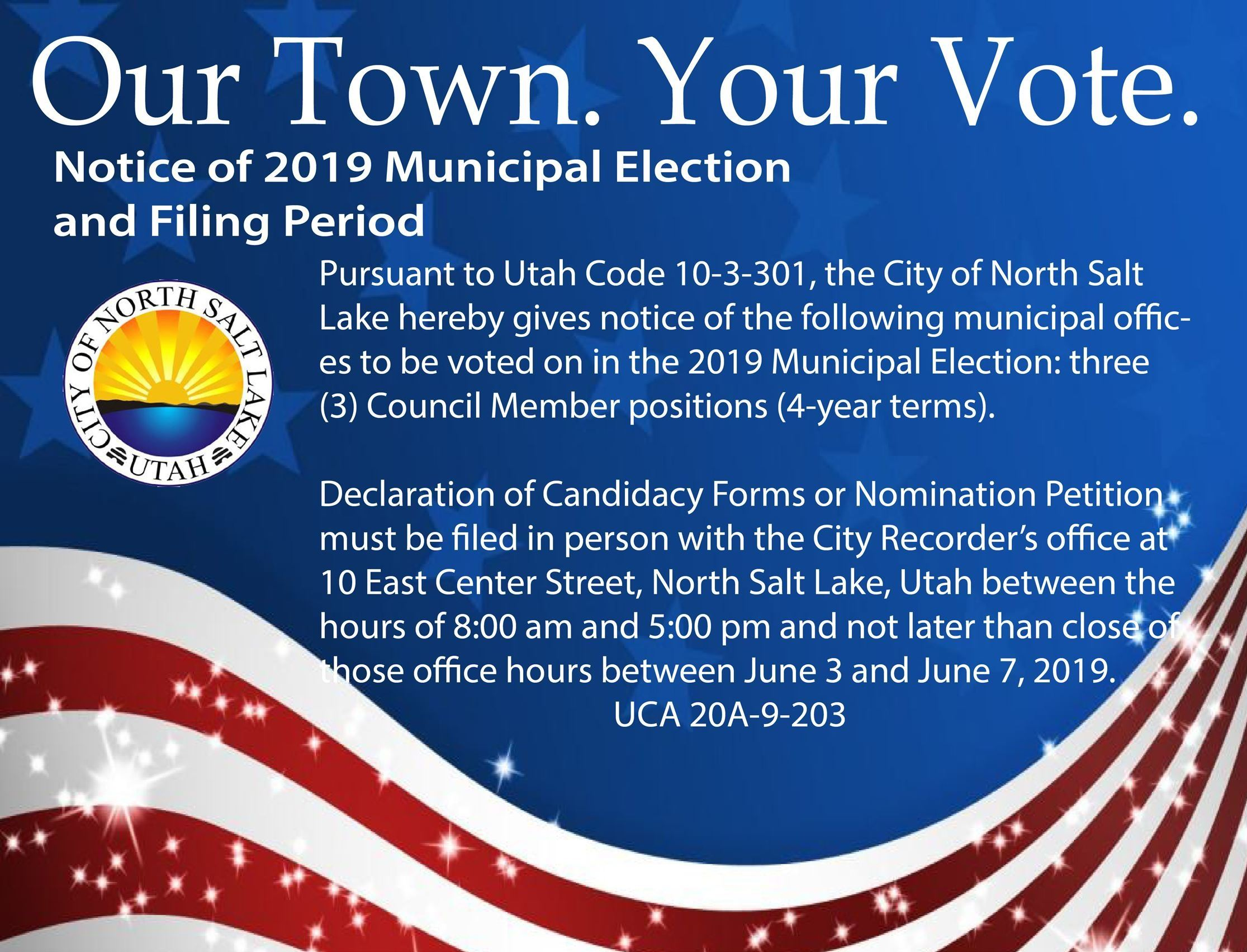 Our Town Your Vote Filing Period 2019 for social media