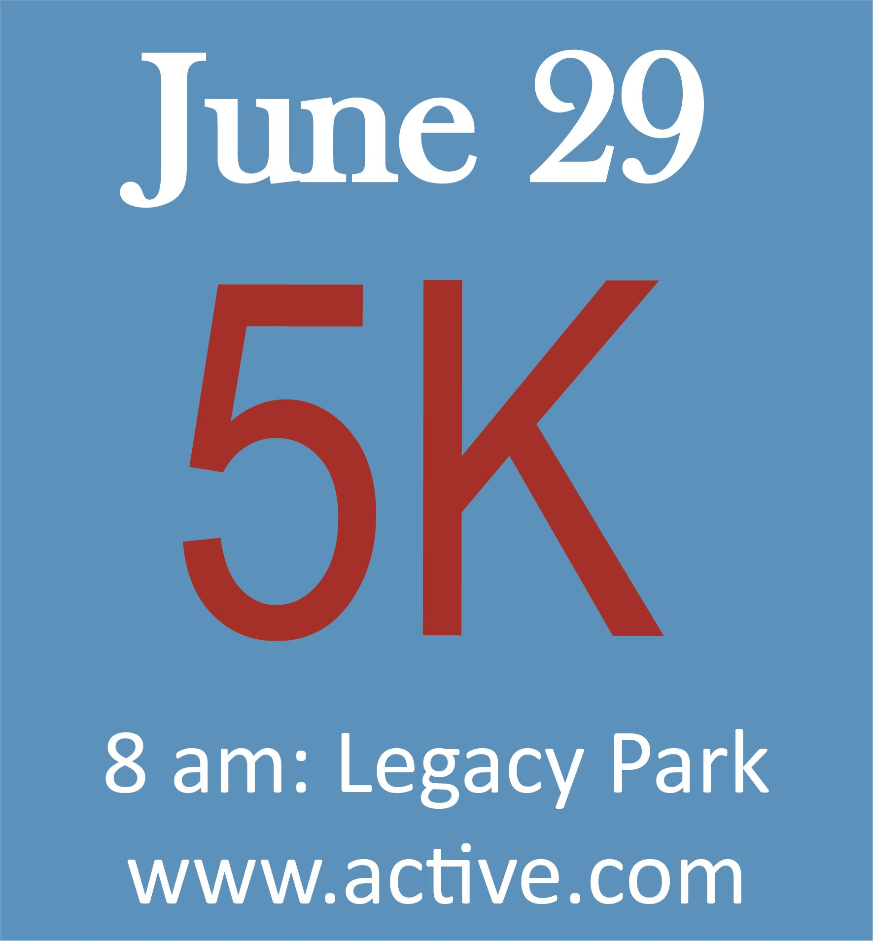 5K blue square date and red 5K
