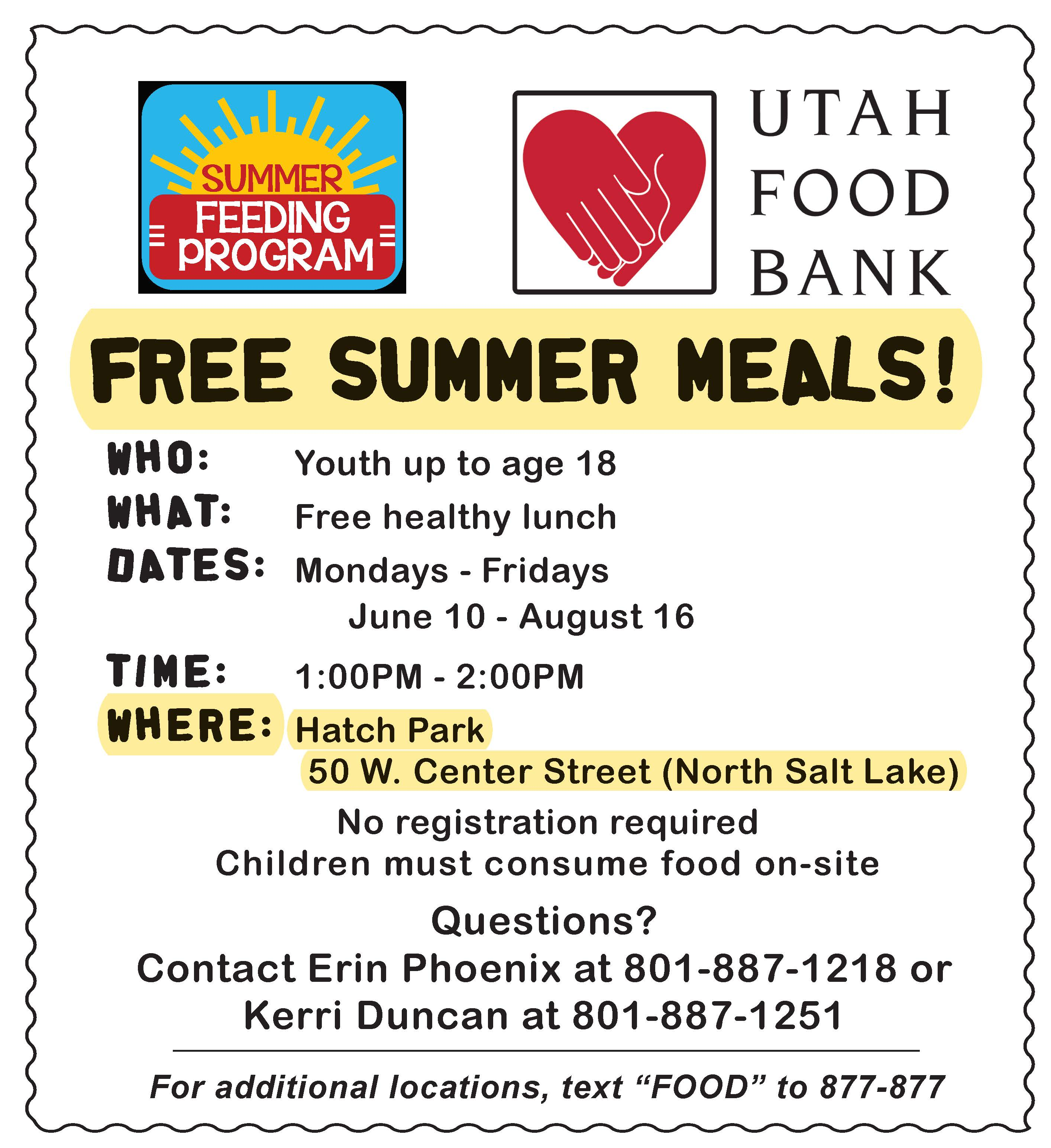 Summer Meals Flyer Hatch Park 2019