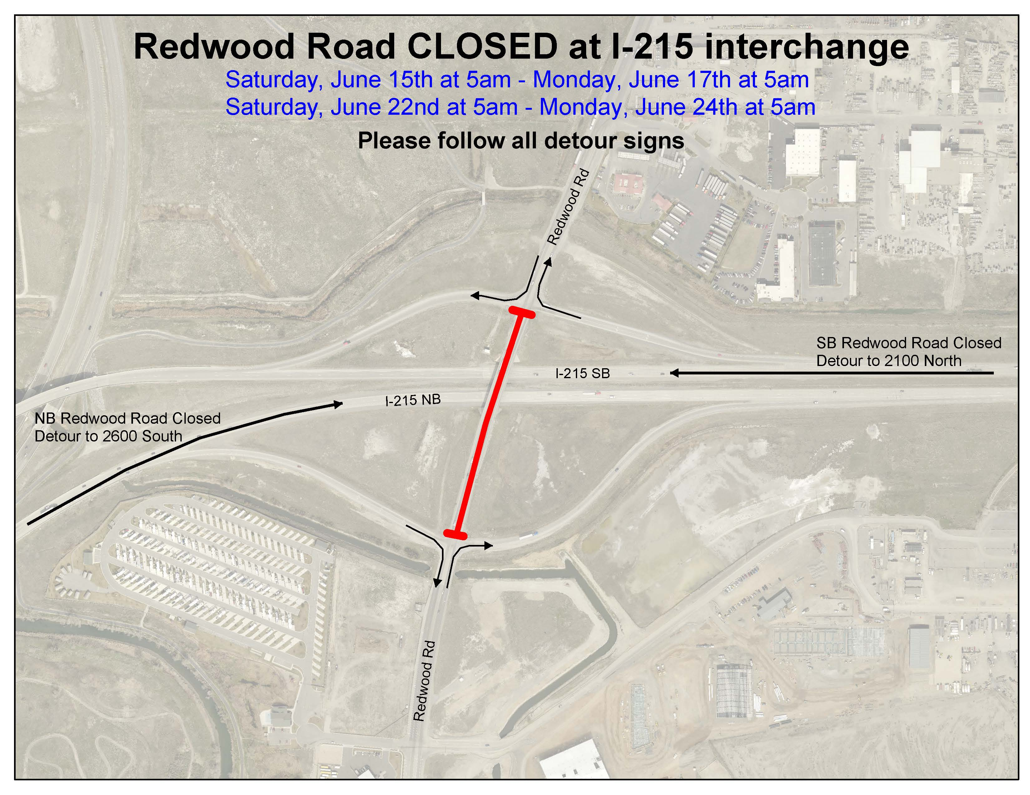 6-12-19 Redwood Rd closure map corrected times both weekends