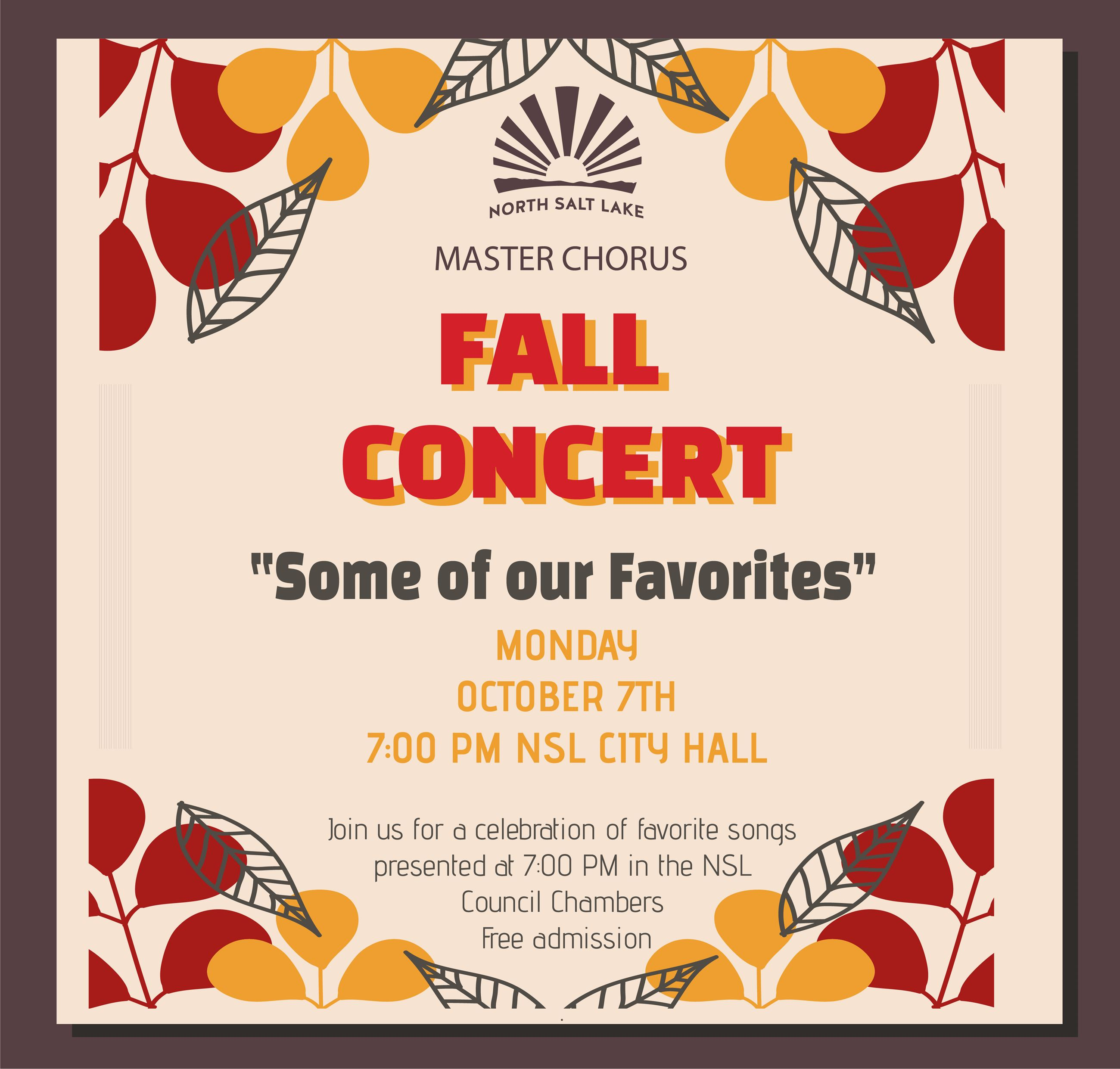 2019 NSL Master Chorus Fall Concert flyer 10-7 square