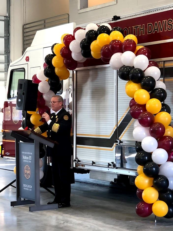 Fire Station Ribbon Cutting Chief Bassett balloons Nov 2019