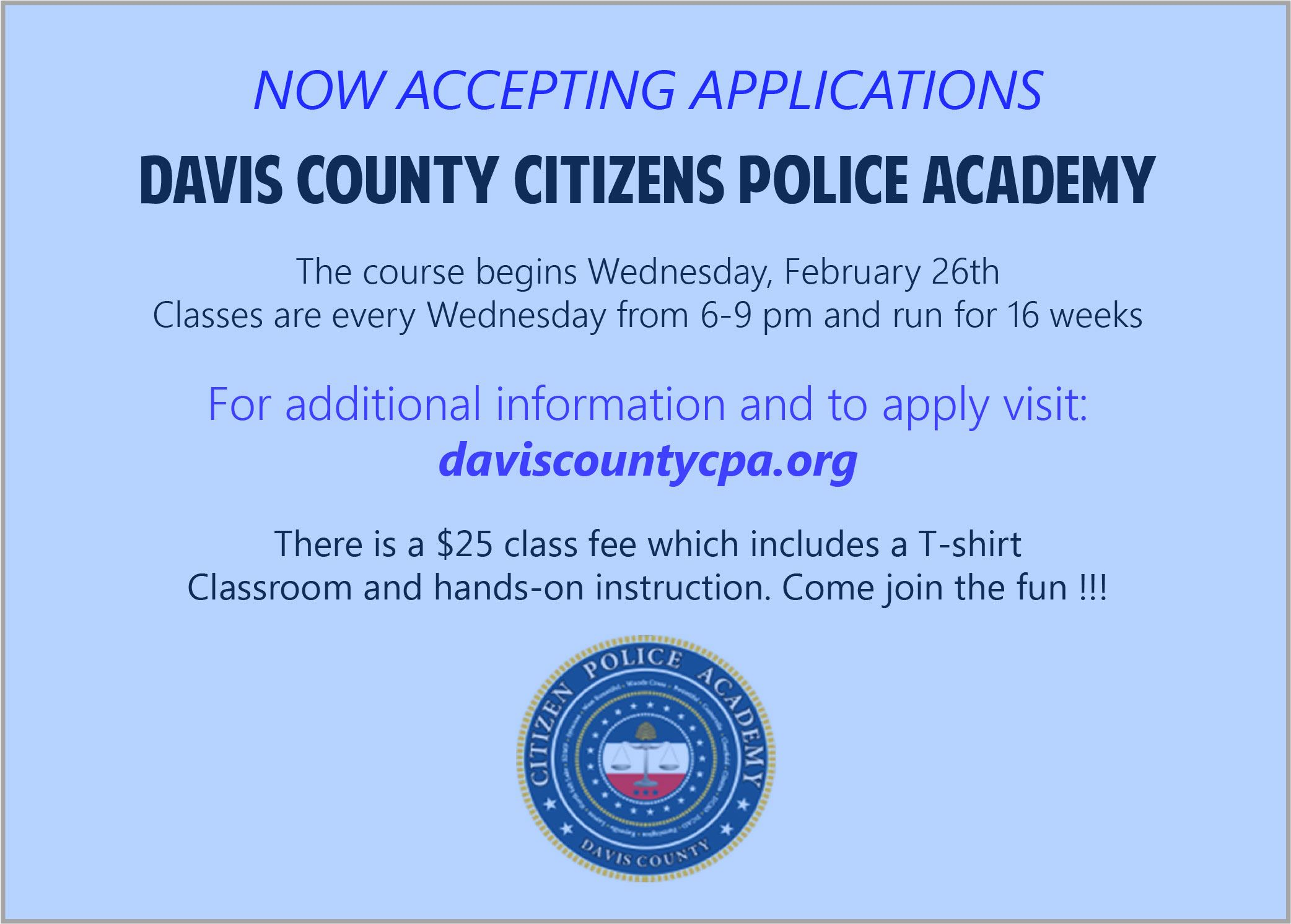 Citizens Police Academy Announcement