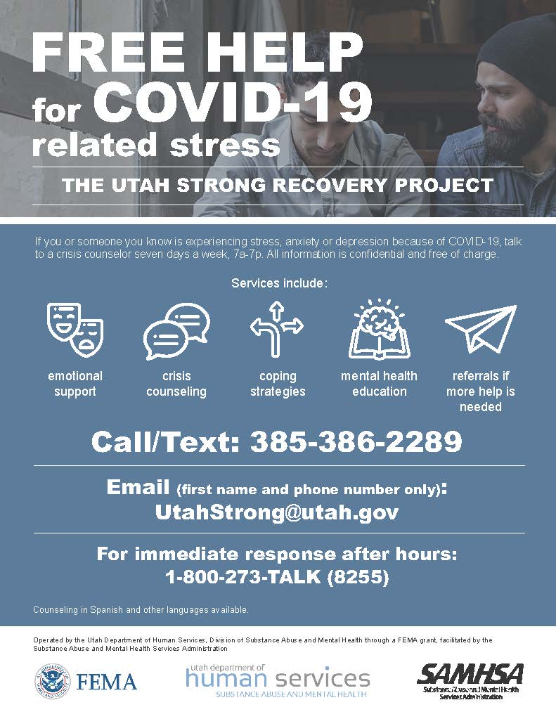 Utah Strong Flyer free help for COVID stress July 2020
