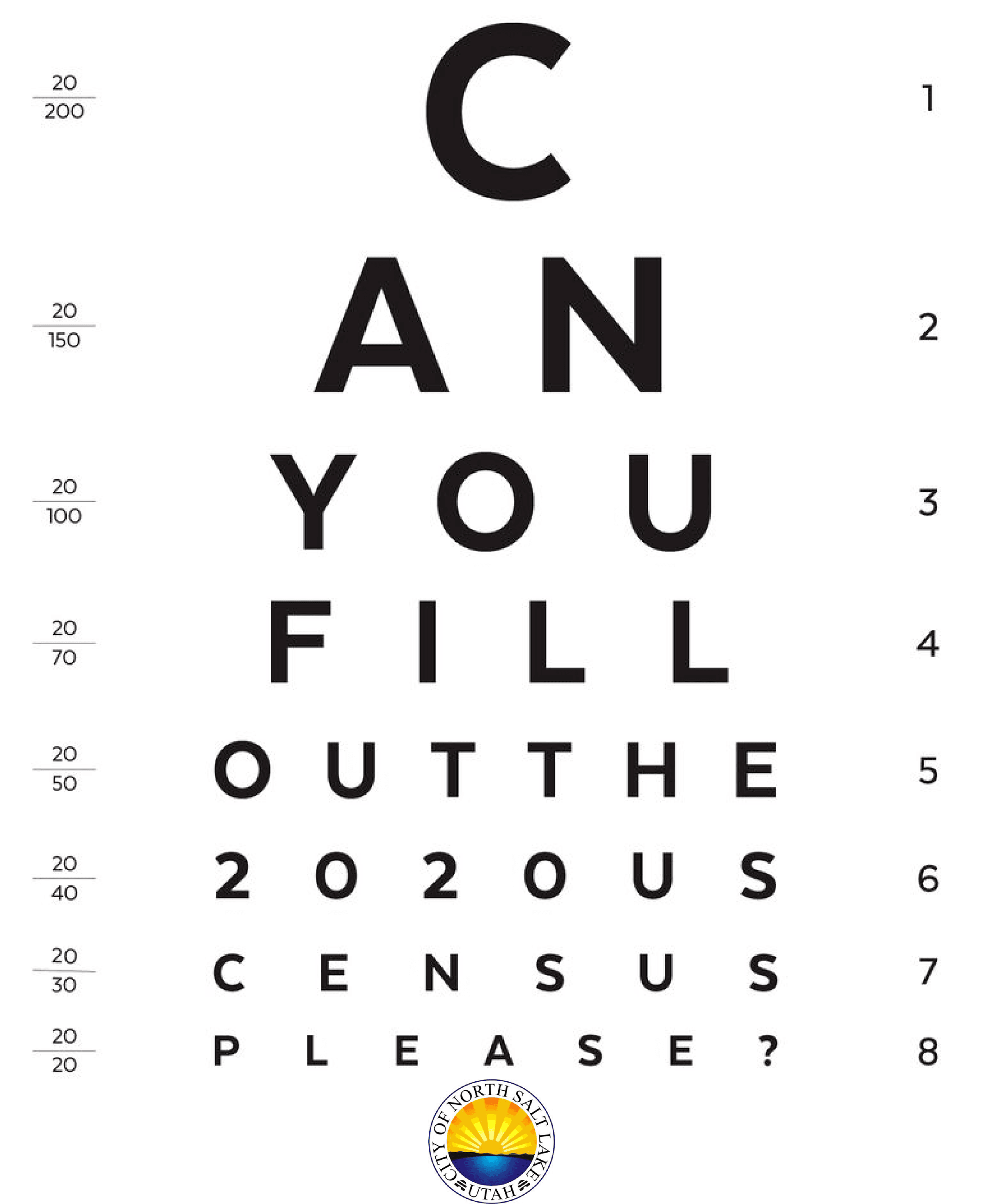 can you fill out the census eye chart logo at bottom