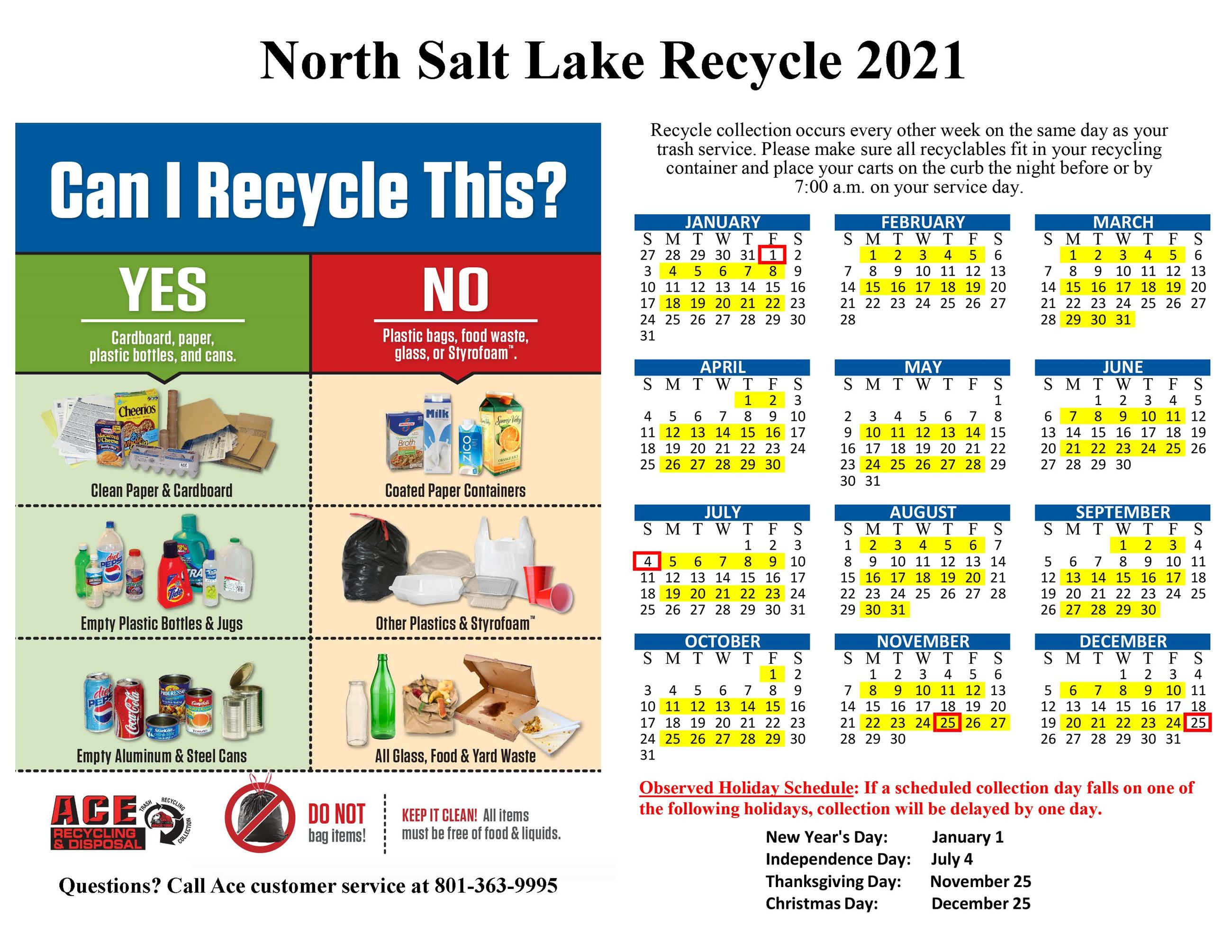 North Salt Lake Recycle Calendar 2021