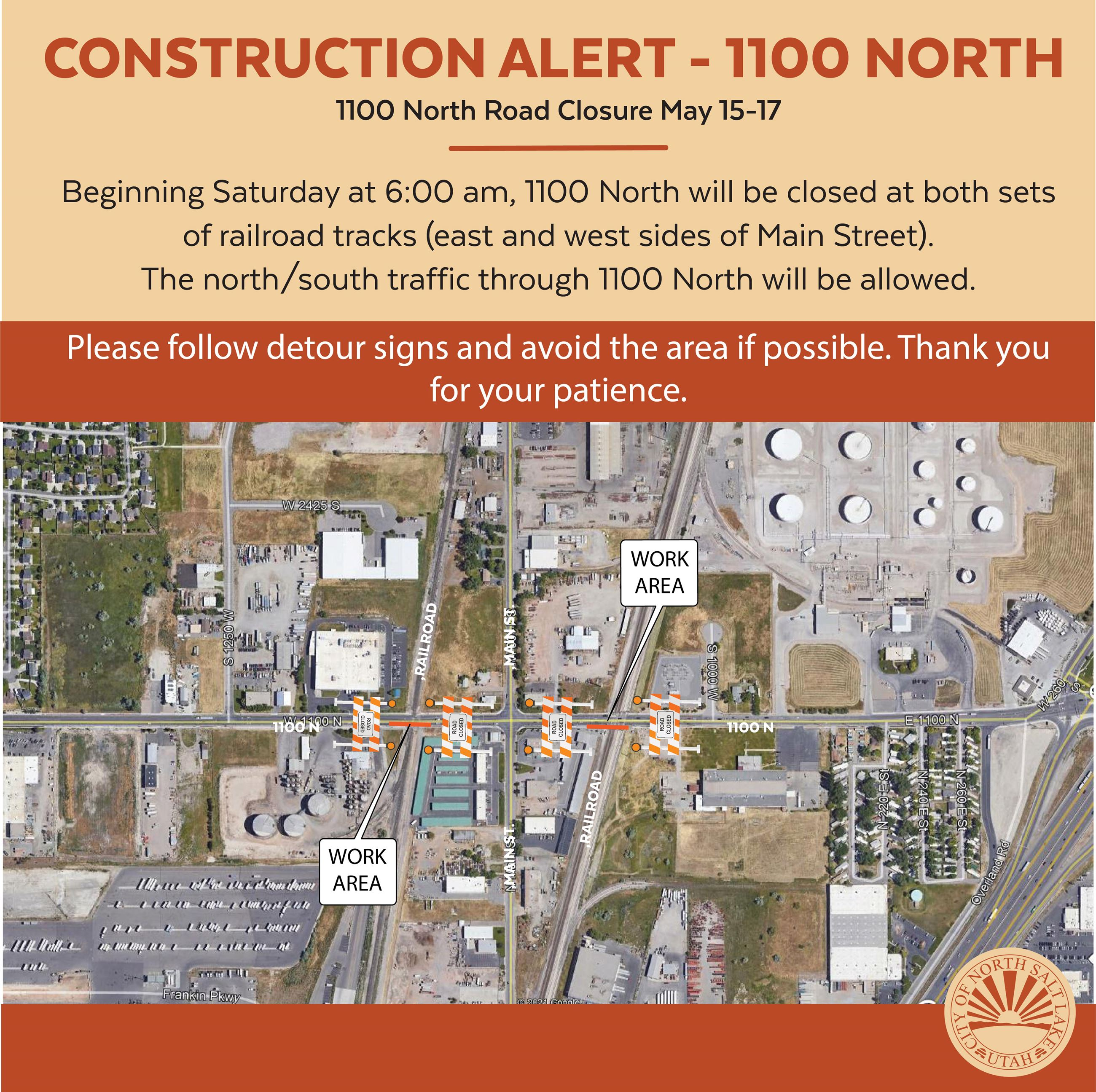 1100 N Closure railroad tracks widen road Instagram map May 2021