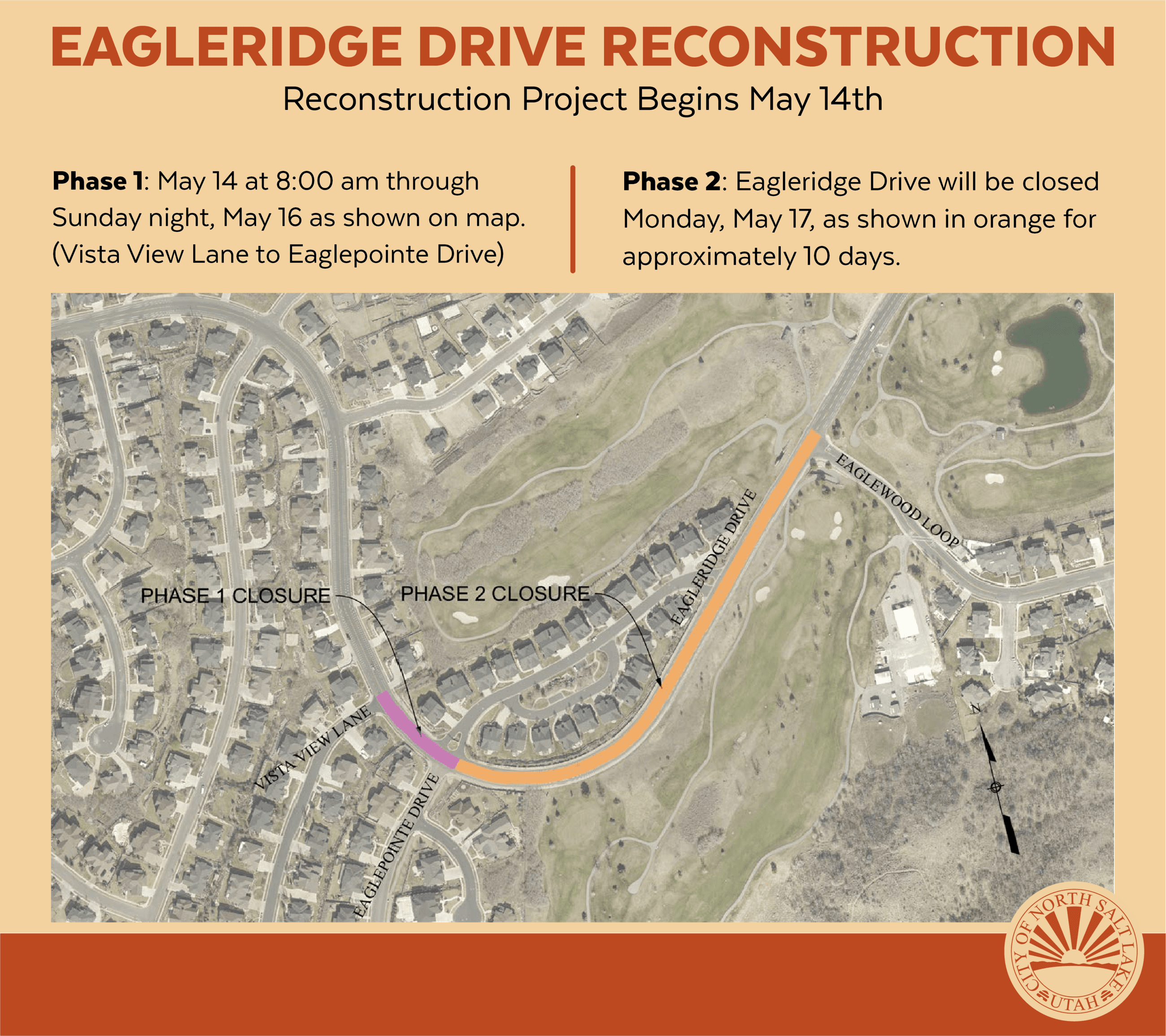 Eagleridge Dr Reconstruction Instagram map closure phases May 2021